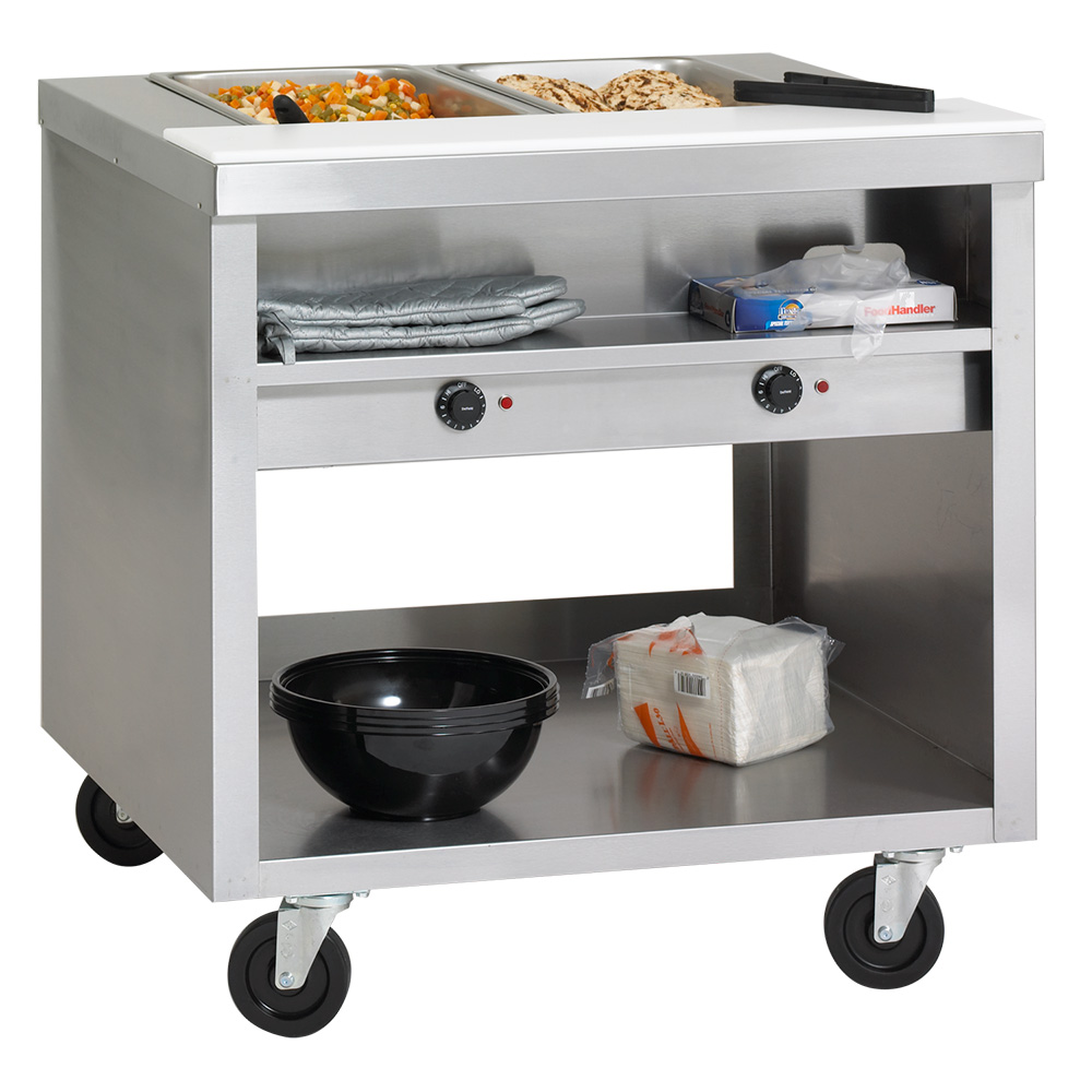 Delfield EHEI74C 74-in Hot Food Table w/ 5-Wells & Poly Cutting Board, Casters