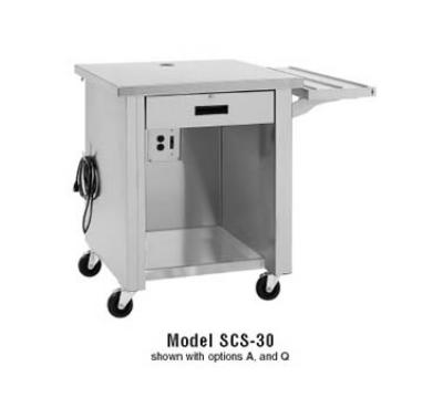 Delfield SCS-30 Shellysteel Cashier Counter, 30 in Deep, SS Top, Locking Drawer, Shelf, Casters