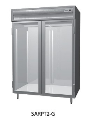 "Delfield SMRPT2-GHSH 56"" Two Section Pass Thru Reach-In Refrigerator, (2) Glass Door, 115v"
