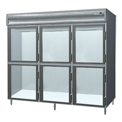 "Delfield SSR3-GH 83"" Reach-In Refrigerator - 3-Section, 6-Glass Half Doors, 78.89-cu ft 115v"