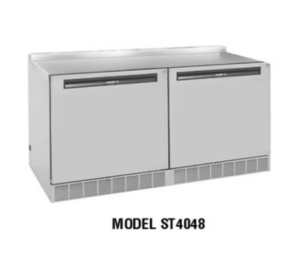 Delfield ST4148 48 in Work Top Freezer Base, 2 Section/Doors, S/S Top /W/Back Splash
