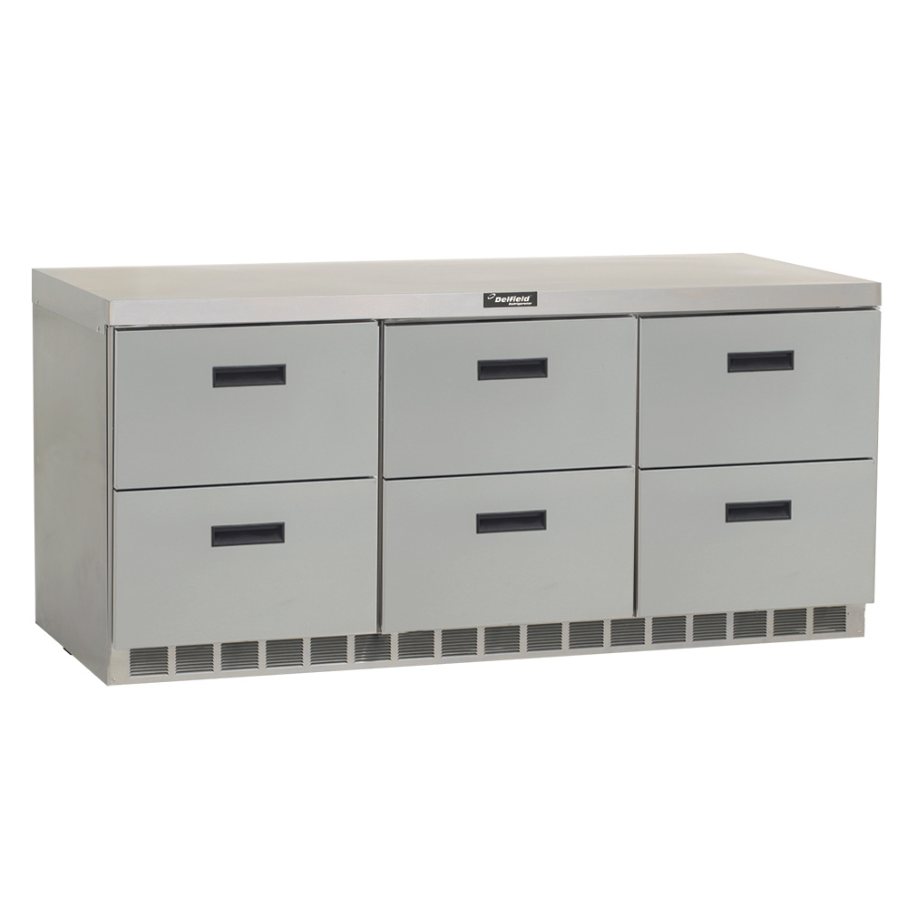 Delfield UCD4472N 72 in Undercounter Refrigerator, 3 Section/6 Drawers