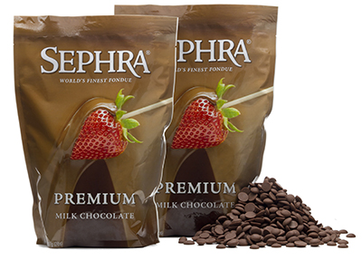 Sephra 21005 Premium Milk Couverture Fondue Chocolate, (2) 2-lb Bags