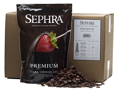 Sephra 28004 Premium Dark Fondue Chocolate, Fountain Ready, (10) 2-lb Bags