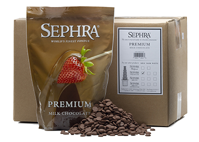 Sephra 28005 Premium Milk Fondue Chocolate, Fountain Ready, (10) 2-lb Bags