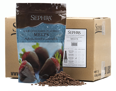 Sephra 28008 Milk Chocolate Melts, Fountain Ready, Hardens Quickly, (10) 2-lb Bags