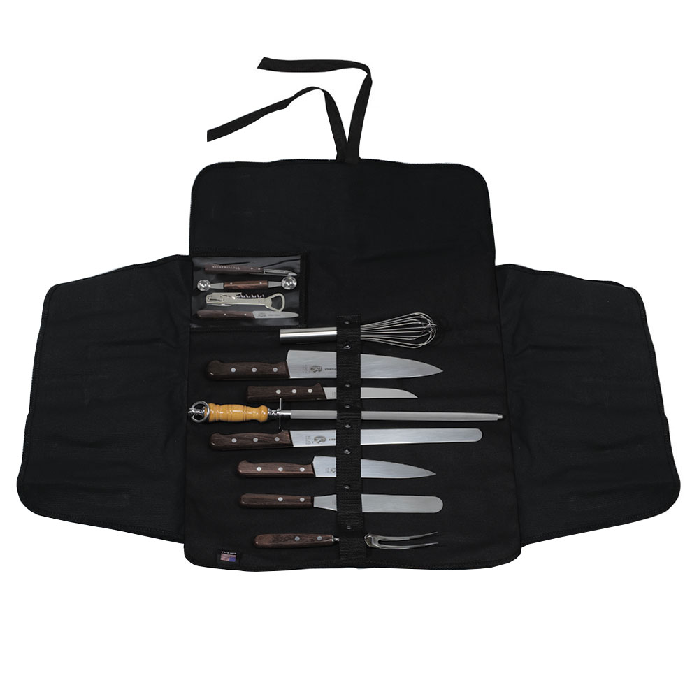 Victorinox - Swiss Army 46050 12-Piece Culinary Set w/ Rosewood Handle, Washable Canvas Roll