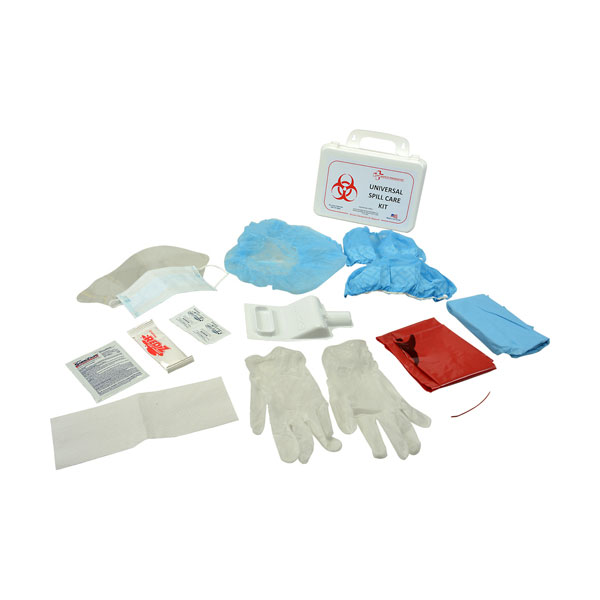 Franklin Machine 280-1750 Spill Kit - White Plastic Outer Case, Includes Collapsible Handle And Tabs