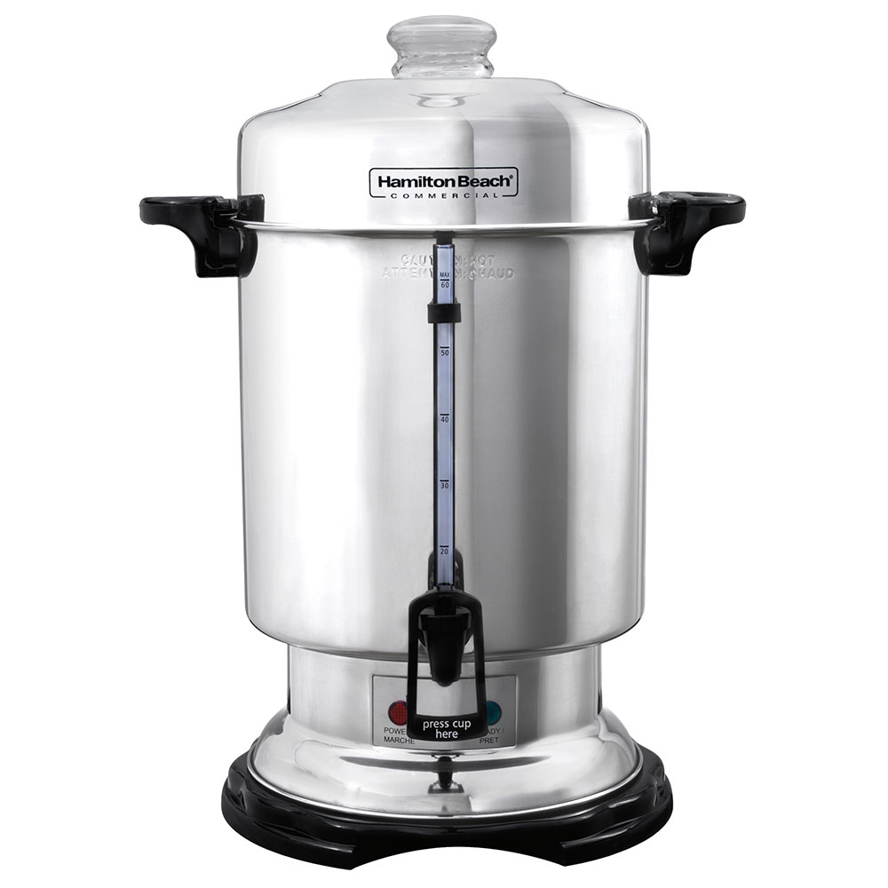 Hamilton Beach D50065 60-Cup Coffee Urn Percolator, Water/Coffee Window, 120 V