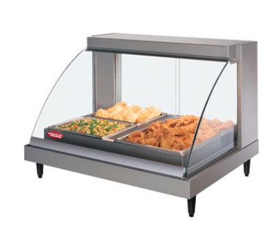 Hatco GRCDH2PDBK Heated Display Case, Humidity & Curved Glass, 2-Pan Shelf, Incadesce