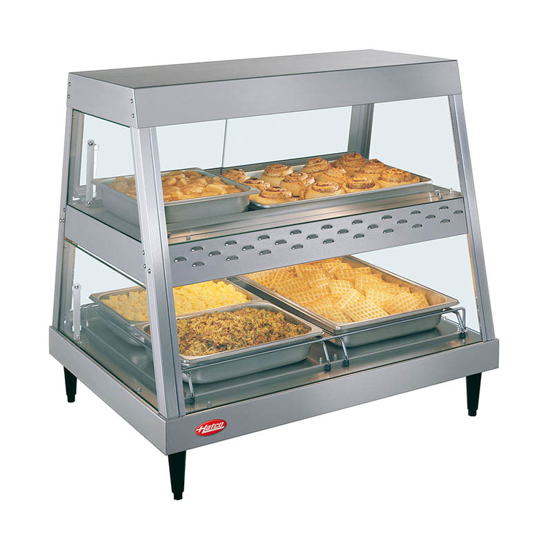 Hatco GRHD-2PD Heated Display, See-Thru, 2-Shelves, 2-Pan Each, 1310 Watts