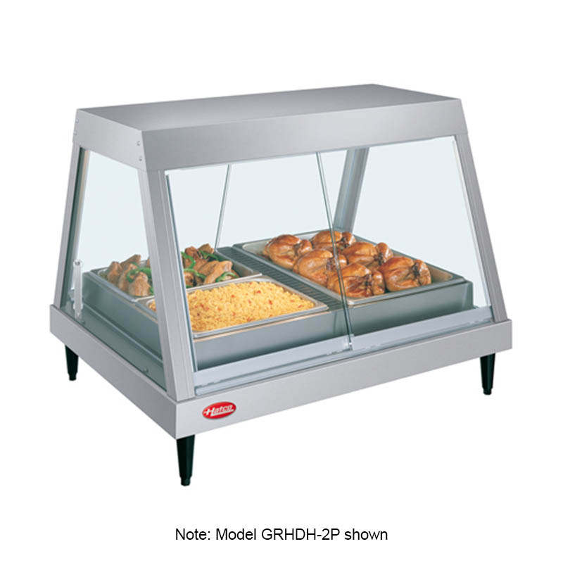 Hatco GRHDH-2PD Countertop Heated Display Case, Glass Front Design, 2-Pan Dual Shelf, 1560-watt
