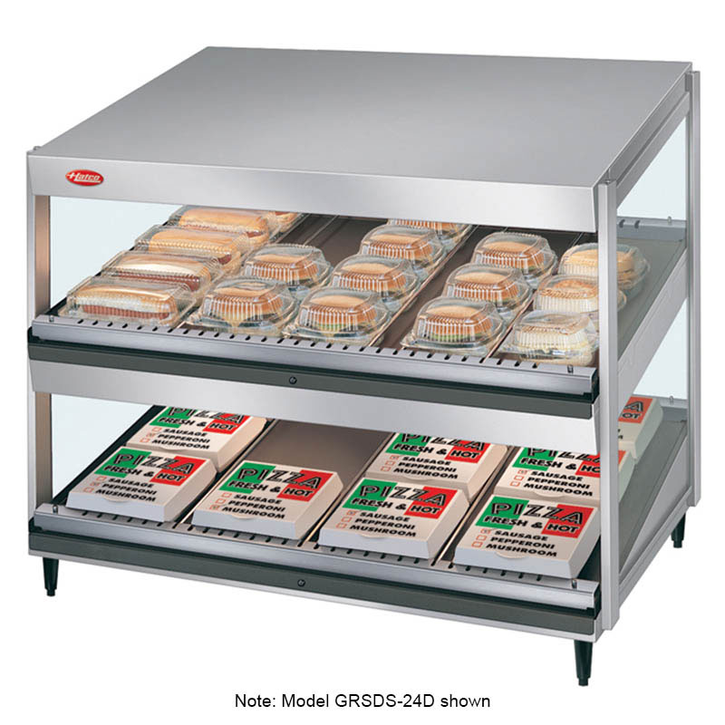 Hatco GRSDS-30D-120-QS Pass Thru Merchandising Warmer, Slanted Shelves, 12-Rods, 1530 W