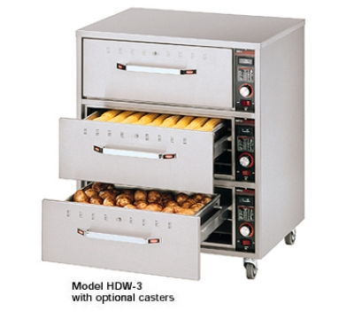 Hatco HDW-3N 120 Freestanding Narrow Warming 3-Drawer Unit For Standard Pans, 120 V