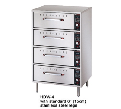 Hatco HDW-4 208 Freestanding Warming 4-Drawer Unit For Standard Size Pans, 208 V