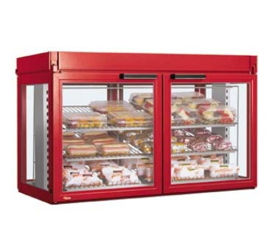 Hatco LFST-48-1X 240 RED Merchandising Cabinet w/ 2-Glass Rear Doors, Red, 240 V