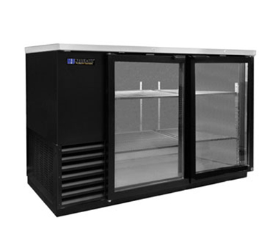 "Masterbilt MBBB59-G 59.5"" Refrigerated Backbar Storage Cabinet - (2) Glass Door, 23.7-cu ft, Black"