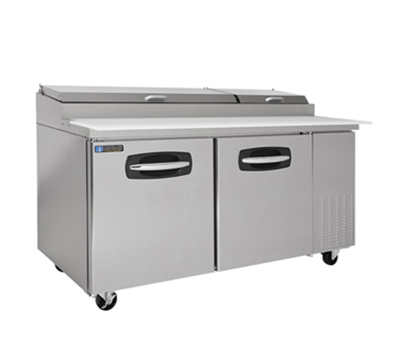 Masterbilt MBPT67 Refrigerated Pizza Prep Table - Holds (9) 1/3-Pan, (2) Door, Stainless