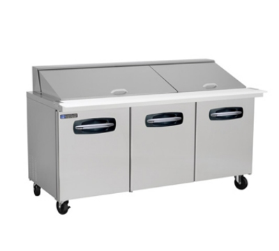 "Masterbilt MBSMP72-30 72.5"" Mega Top Sandwich Unit - (30) 1/6-Pans, (3) Door, Stainless"