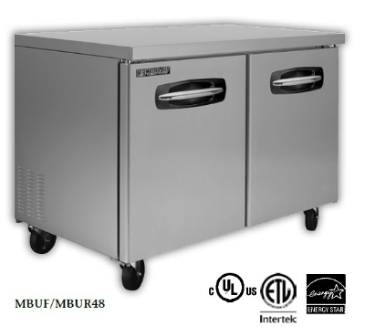 "Masterbilt MBUR72-004 72.4"" Undercounter Refrigerator - (2) Door, (2) Center Drawer, 20-cu ft"