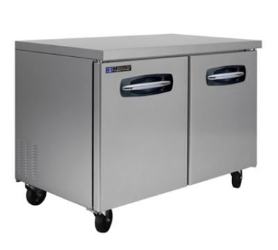 "Masterbilt MBUR48 48.25"" Undercounter Refrigerator - (2) Solid Door, 13-cu ft, Stainless"