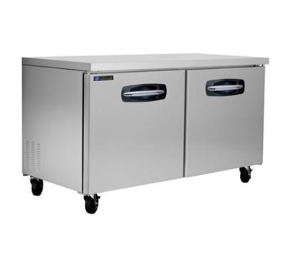 "Masterbilt MBUR60 60.4"" Undercounter Refrigerator - (2) Solid Door, 16.5-cu ft, Stainless"