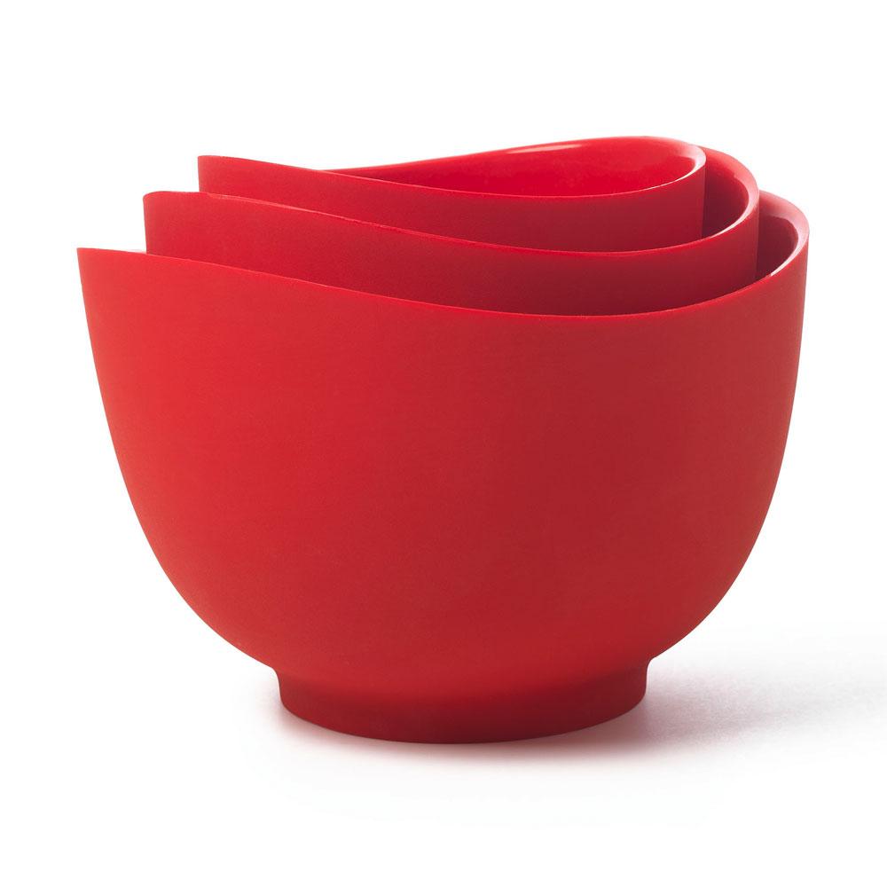 ISI B25101 Flexible Mixing Bowl Set w/ 1-qt, 1.5-qt & 2-qt Capacity, Form Anywhere Spout, Red