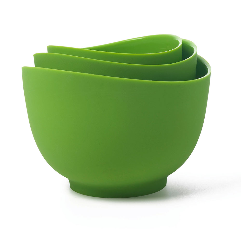 ISI B25104 Flexible Mixing Bowl Set w/ 1-qt, 1.5-qt & 2-qt Capacity, Form Anywhere Spout, Wasabi