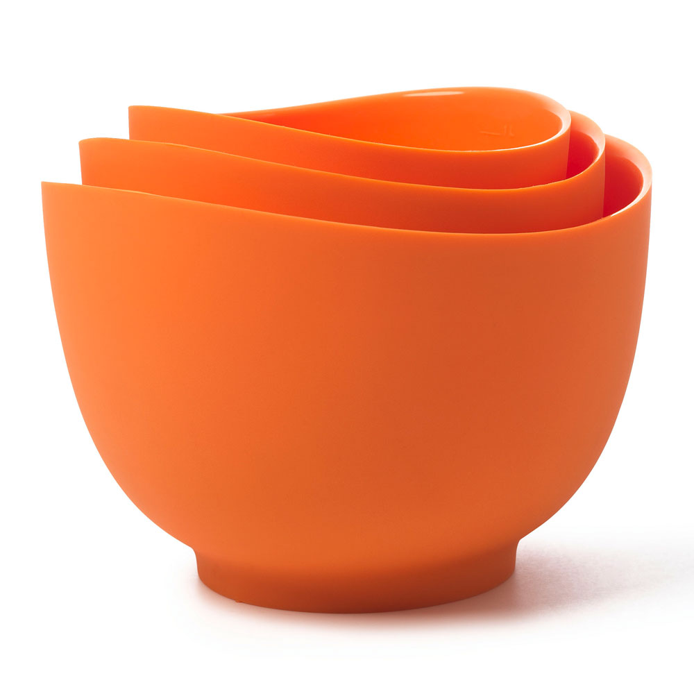 ISI B25106 Flexible Mixing Bowl Set w/ 1-qt, 1.5-qt & 2-qt Capacity, Form Anywhere Spout, Orange