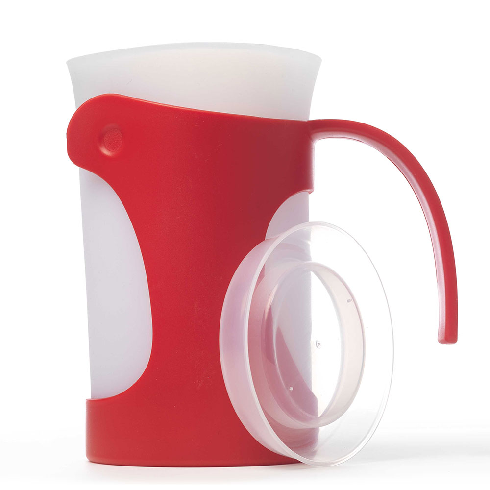 ISI B700 01 50-oz Pitcher w/ Ergonomic Handle & Silicone Liner, Lid, Red
