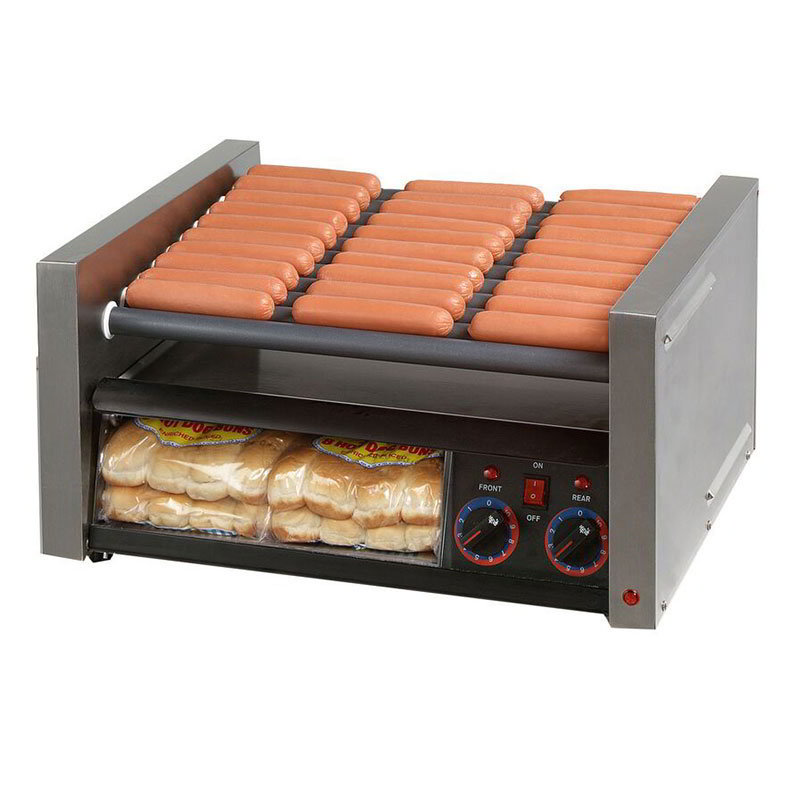 Star Manufacturing 30CBBC Hot Dog Roller Grill, Bun Holder, Clear Door, 30-Dog/32-Bun