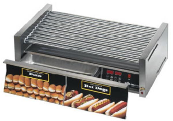 Star 75CBDE240 Star Grill-Max Hot Dog Grill With Drawer Chrome Rollers Electronic 240 V Restaurant Supply