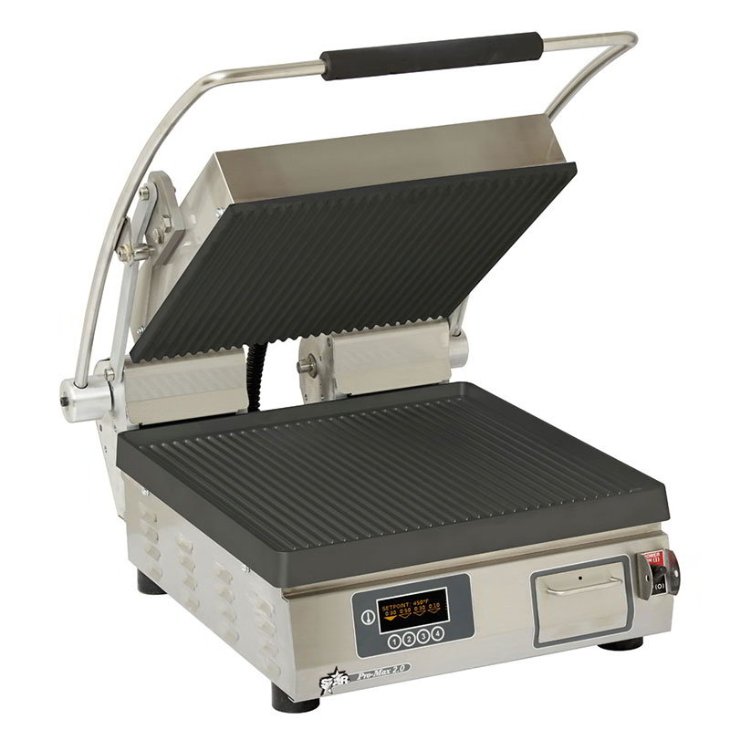"Star Manufacturing CG14IEGT Panini Grill, 14 x 14"", Grooved Upper, 208/240v"