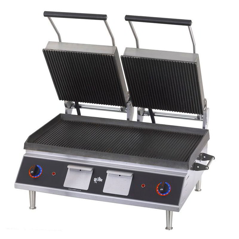 Star Manufacturing CG28IB Double Panini Grill w/ 14 x 28-in Grooved Cast Iron Plates, 208/1v