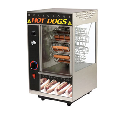 Star Manufacturing 174CBA Hot Dog Broiler w/Bun Warmer, Cradle Type, 18- Dog/12-Bun