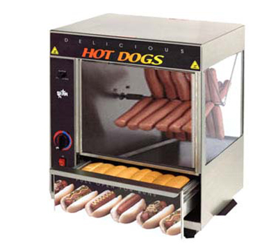 Star Manufacturing 175SBA-230 Hot Dog Broiler w/ Cradle & Bun Warmer, 48-Dogs & 32-Buns, Export