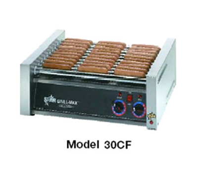 Star Manufacturing 50CF-230 Flat Hot Dog Grill w/ Chrome-Plated Rollers, 50 Hot Dog, Export