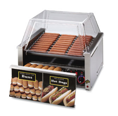 Star Manufacturing 30CBD 30 Hot Dog Roller Grill w/Bun Storage - Slanted Top, 120v