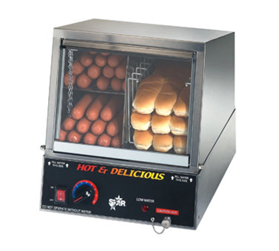 Star Manufacturing 35SSA230 Hot Dog Steamer w/ Juice Tray, Holds 170 Dog/18-Bun, Export