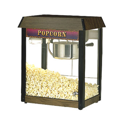 Star Manufacturing 39DA-230 Popcorn Popper w/ 6-oz Kettle, (135) 1-oz Servings, Wood Grain, Export