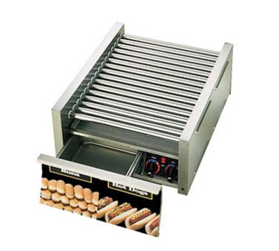 Star Manufacturing 45CBD 45 Hot Dog Roller Grill w/Bun Storage - Slanted Top, 120v
