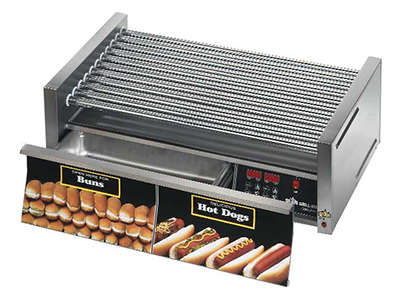Star Manufacturing 50SCBDE Pro Hot Dog Grill w/ Drawer, Duratec Rollers, Front/Rear Control
