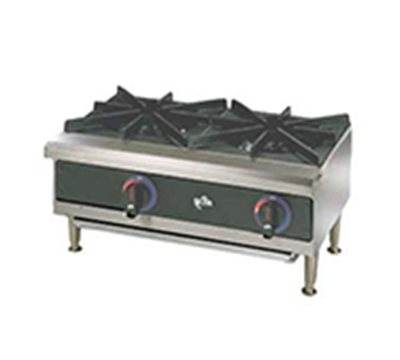 "Star Manufacturing 602HWF 24"" Hotplate - 2-Burners, Manual Controls, 4-in Legs, NG"