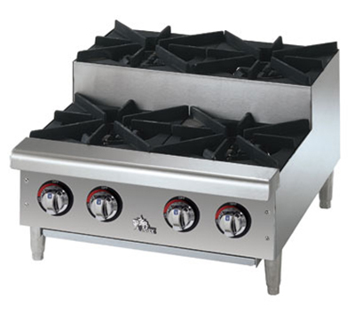 Star Manufacturing 604HF-SU 24-in Step Up Hotplate w/ 4-Burners & Manual Controls, NG