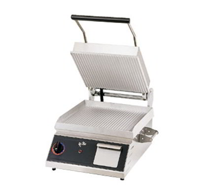 Star Manufacturing CG14B120 Panini Grill w/ Grooved Plates & Thermostatic Control, Splash Guard