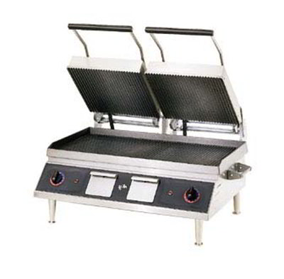 Star Manufacturing CG28IE 2082401 Double Panini Grill w/ Hinged Upper Grills & Grooved Plates, 208/240v