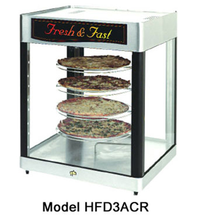 Star Manufacturing HFD3APTCR-230 Humidified Display Cabinet w/ 18-in Pizza Rack, Pass-Thru, Export