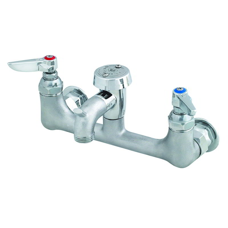 T&S Brass B-0674-RGH Service Faucet 4-3/4 in Wall-Outlet Center No Built-in Stops Rough Chrome Restaurant Supply