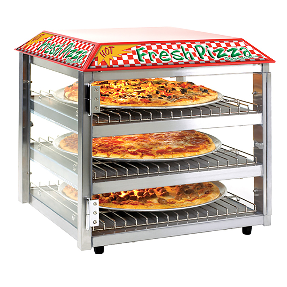 "Tomlinson 1023226 513FC Heated Pizza Snack Merchandiser, 3-Shelves, Holds 16"" Pizza"