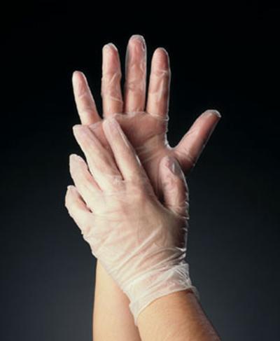 Tomlinson 1036622 Powder Free Disposable Food Service Glove, Vinyl, Medium